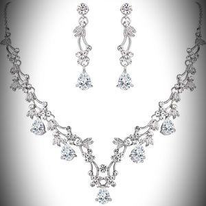 BriLove Rhinestone Necklace and Earring Set